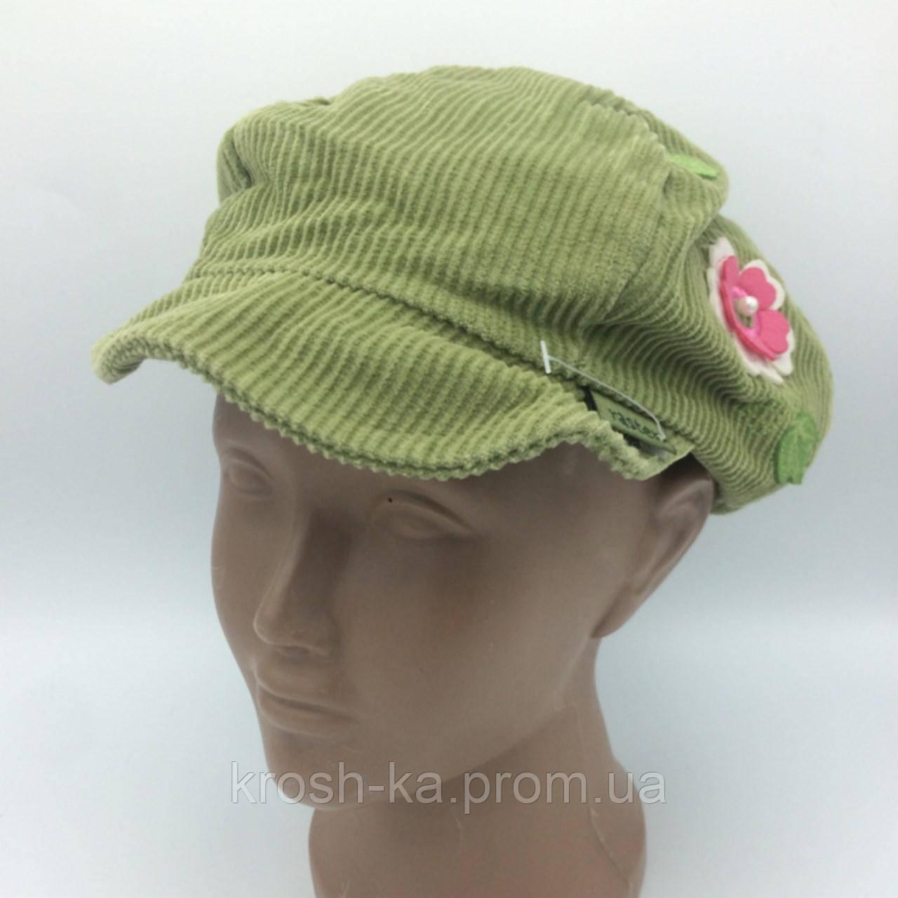 Шапка кепка для девочки (52-54)р вельвет зелёная Raster Польша