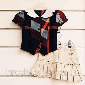 Блуза для девочки клетка короткий рукав (98,128)р Vilen Китай 996