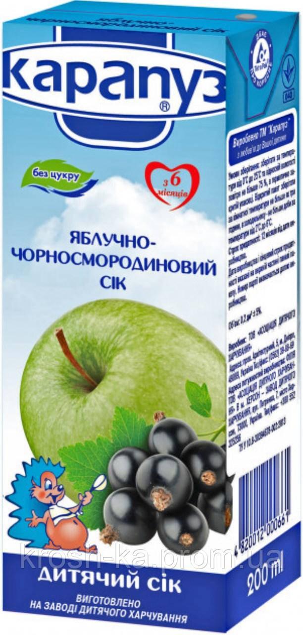 Сок детский яблочно-чёрносмородиновый 6м+ 200мл Карапуз 1060076