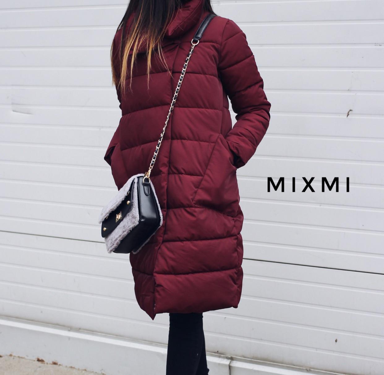Женское пальто. Кнопки в два ряда. Плотный накладной карман. Цвета: чёрный и бордо.