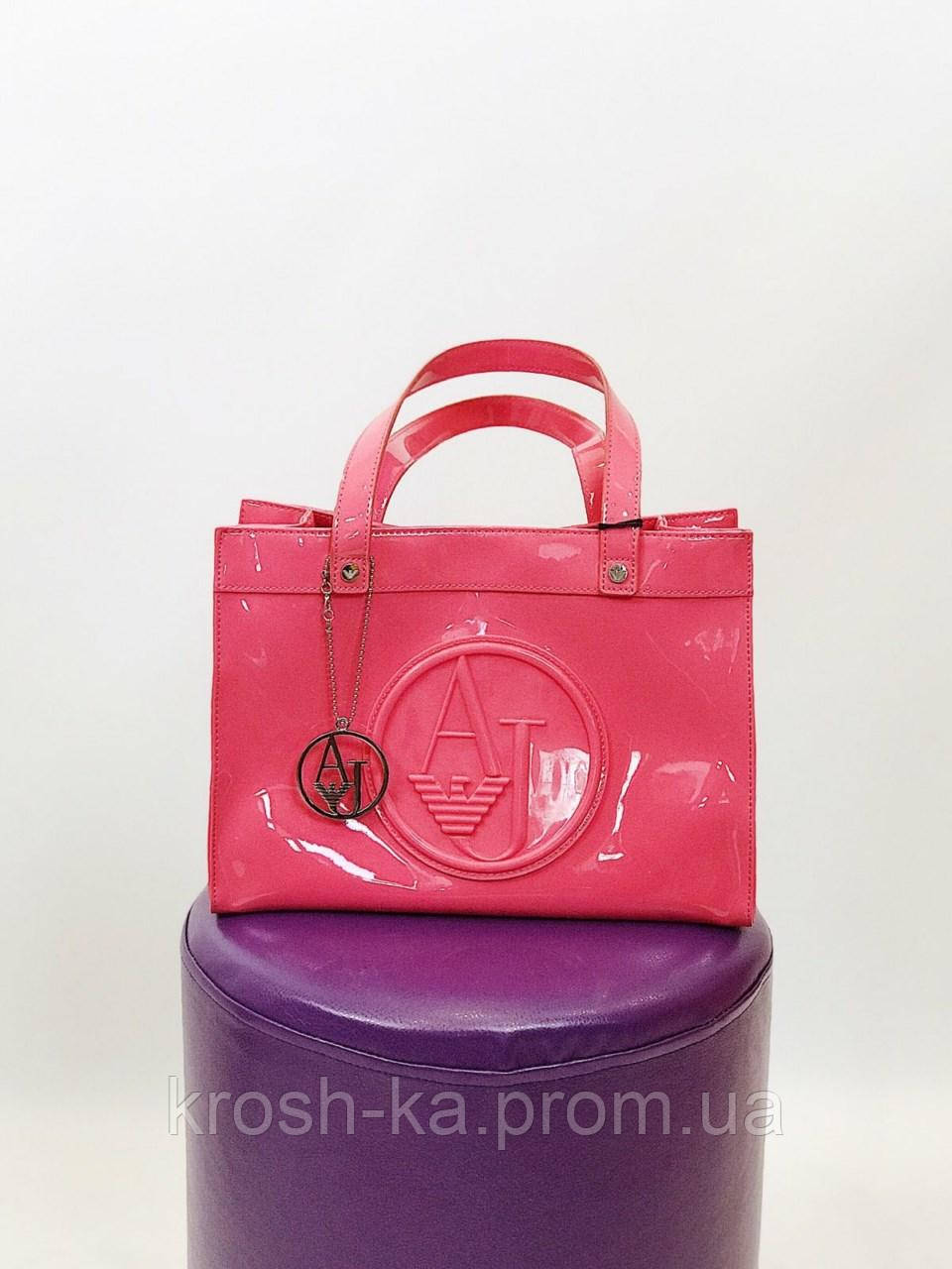 Сумка шопер женская  Armeni Гонконг розовая лаковая 0520
