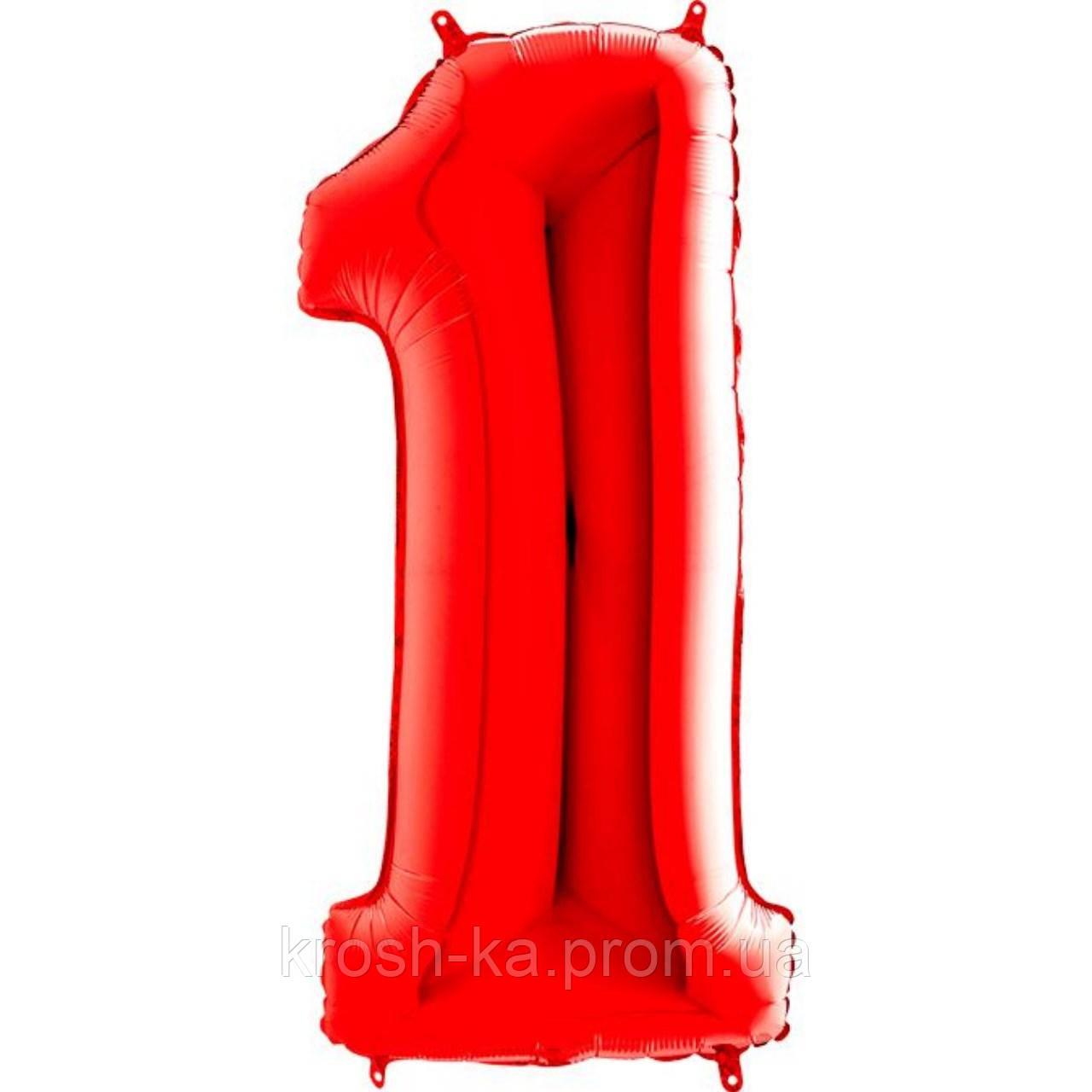 """Фольгированная цифра """"1"""" металлик красная 40*102см Grabo Italy 3207-1179"""