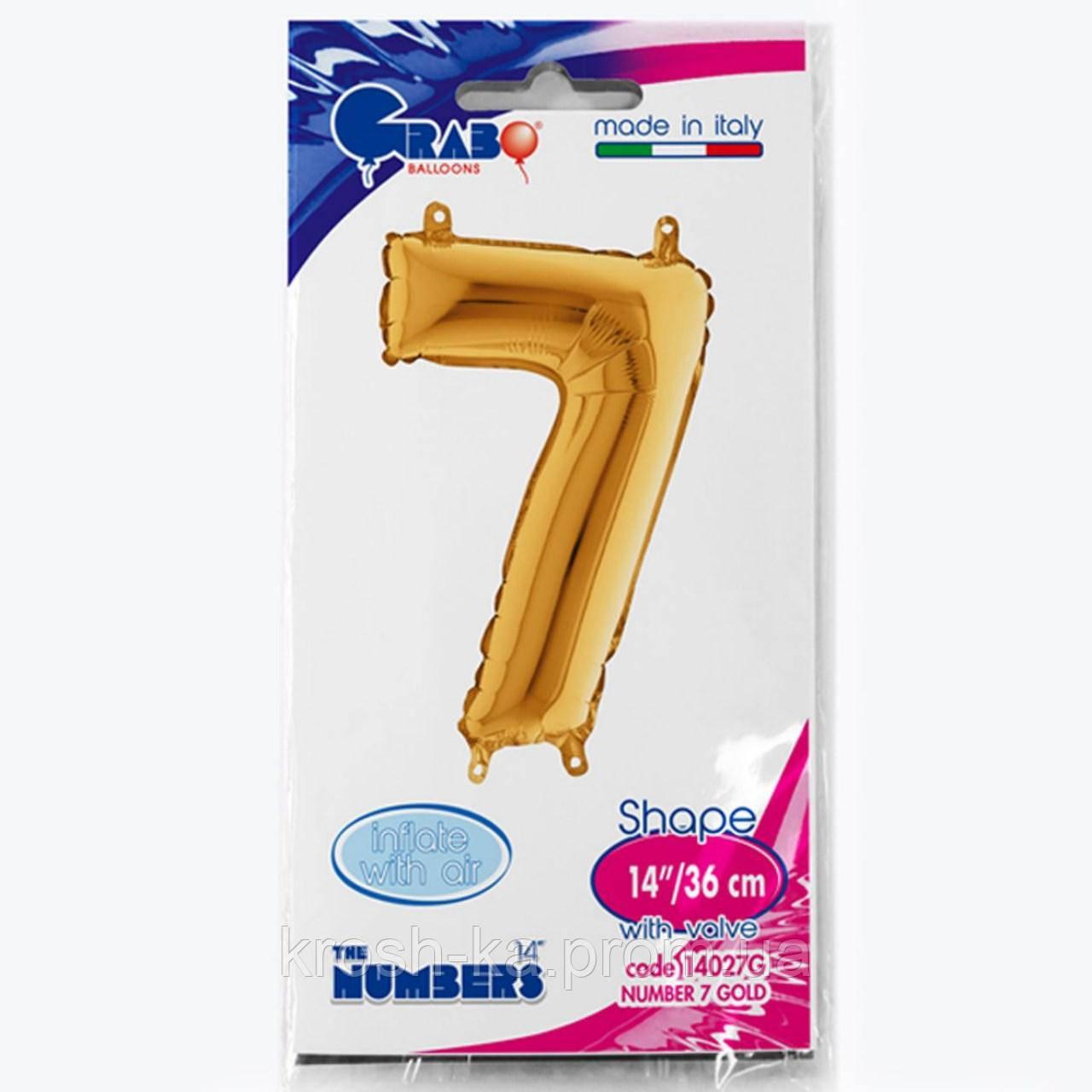 """Фольгированная цифра """"7"""" золото 14*35см Grabo Italy 1206-0636"""