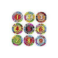 """Фольгированный шар круглый цифра """"8"""" цветной 50см Китай 1202-1788"""