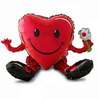 Фольгированная фигура Сердце с ножками сидячее 13*33см США 3207-1024