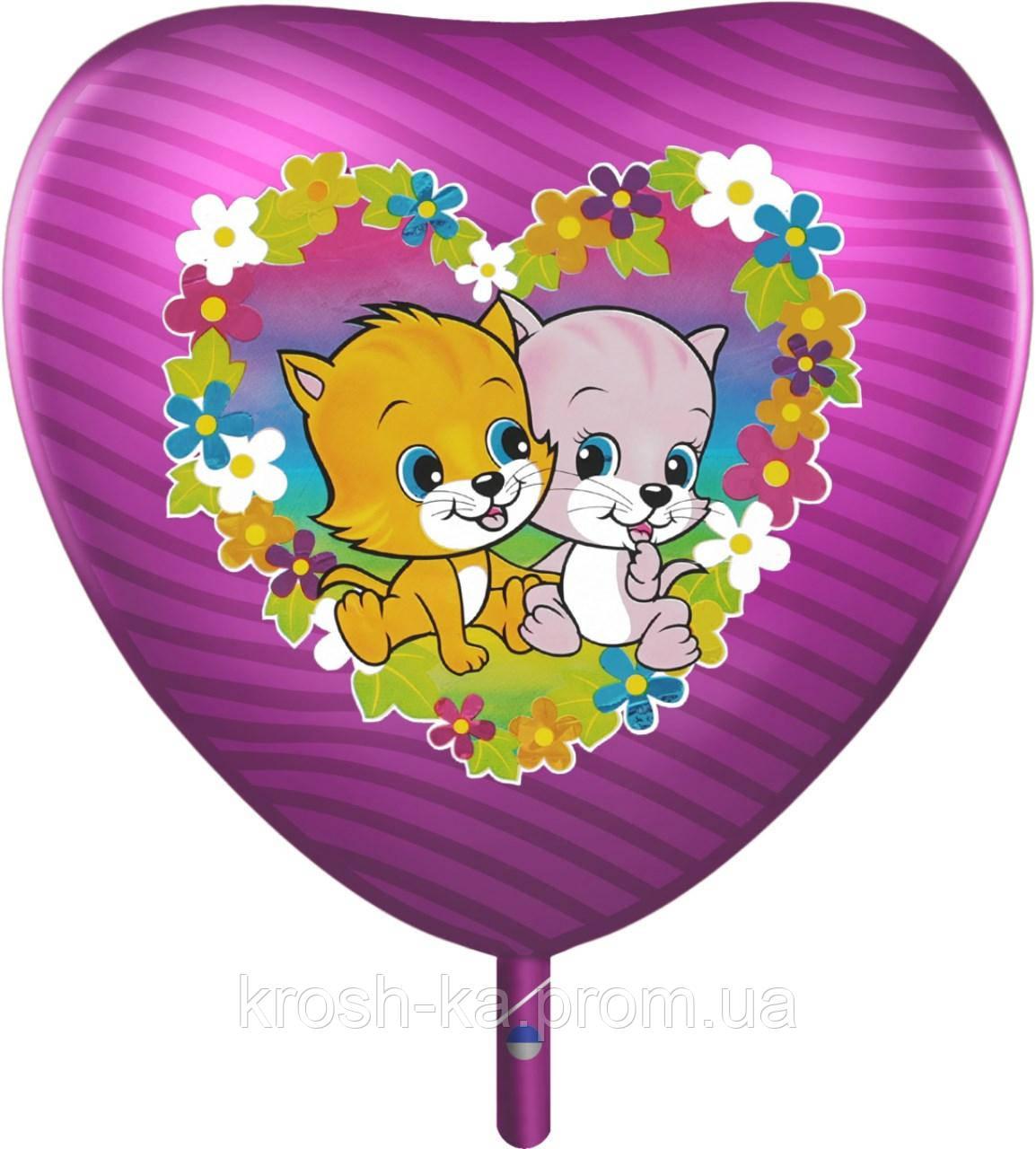 Фольгированное сердце Котята фиолетовое 50см Китай 1202-0443