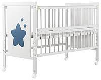 Кровать для новорожденных ТМ Дубок Зірочка  на ножках,колёса, белый бук Эвисс Украина 55578