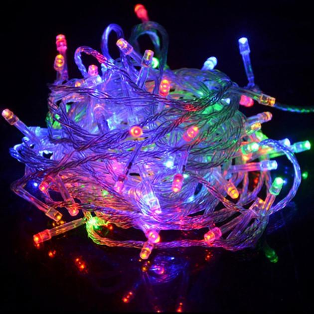 Гирлянда на ёлку Alphatrade, LED 100, 8 м, 100 диодов, прозрачный провод, цвет белый теплый, + статика Разноцветный