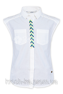 Блуза-рубашка для девочки England к\рукав(128,140)р Tiffosi Португалия белый 6546