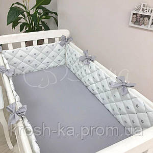 Бортики стёганные +простынь с коронами серебро Маленькая Соня(Sonya) Украина 0700273