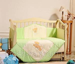 Постельный комплект в детскую кровать салатовый  6 пред. Маленькая Соня(Sonya) Украина 020111