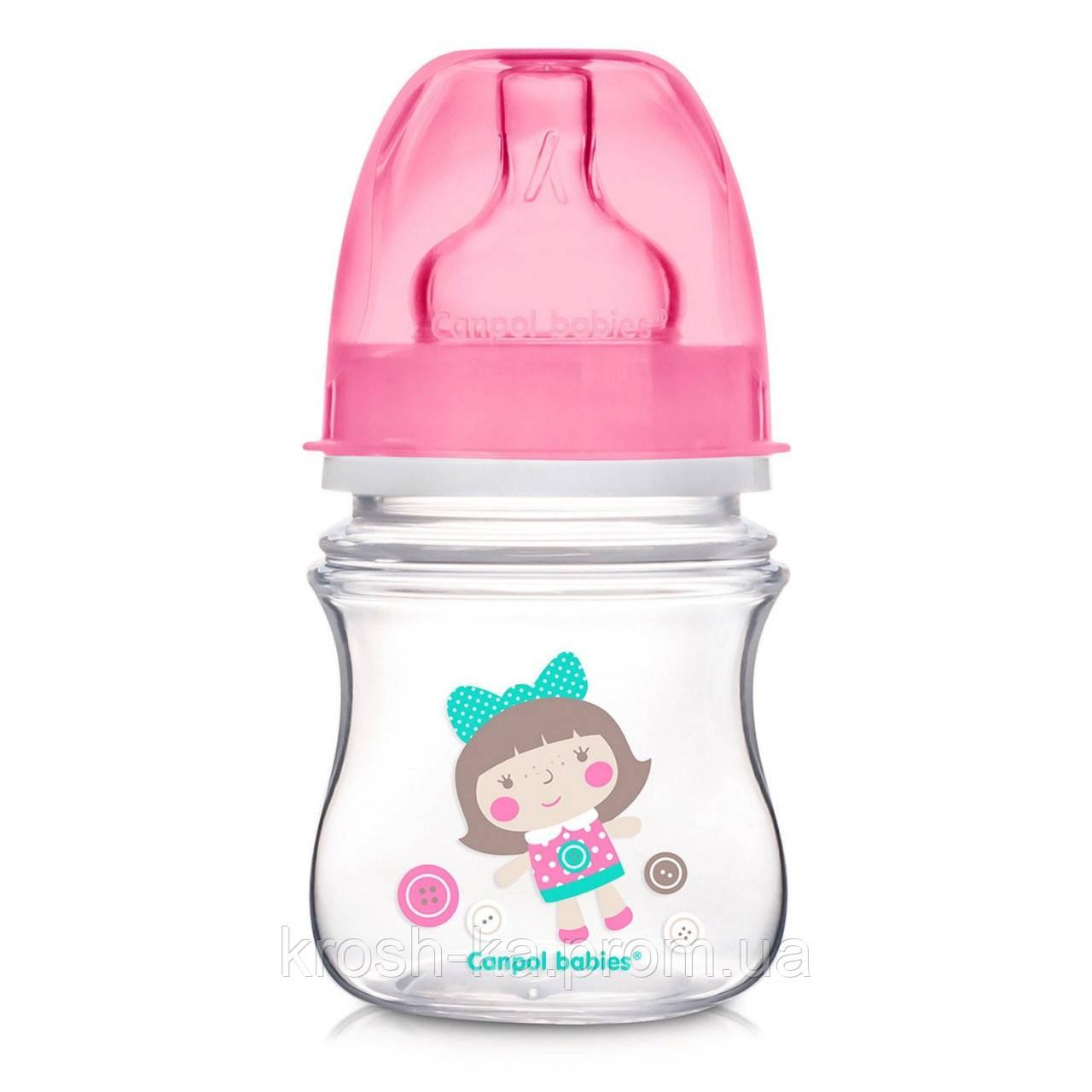 Бутылочка для кормления с широким горлом антиколик Easystart-Toys 120мл Canpol Babies Польша розовая 35/220