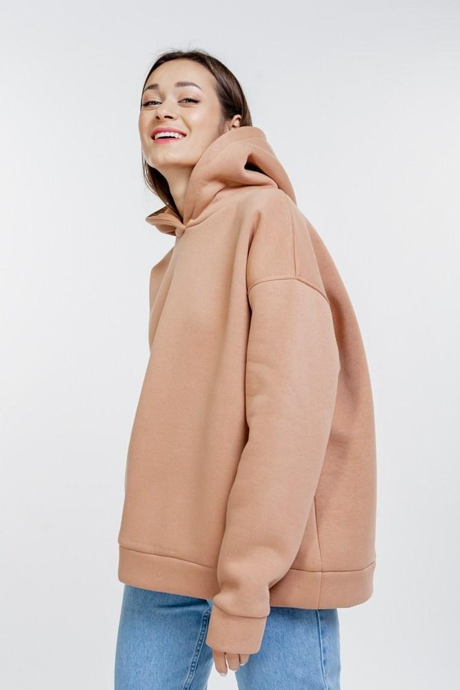 Женское утепленное однотонное худи в стиле oversize с капюшоном