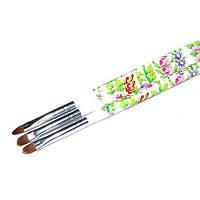 Кисть для геля № 4(белая ручка с цветами, полукруглый ворс)