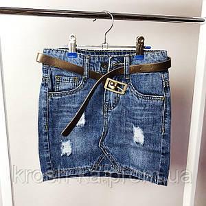 Юбка для девочки джинсовая рванка  коттон((8-14)р Resser Y-018