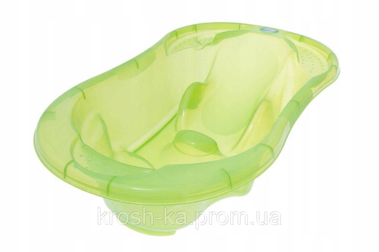 Ванночка детская анатомическая с термометром слив Tega Baby Komfort 96,5см Tega Польша салатовая TG-011-116