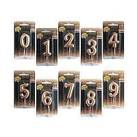 """Свеча-цифра """"0-9"""" для торта розовое золото 4,5см Весёлая затея 1502-3000"""