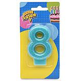 """Свічка-цифра """"0-9"""" для торта блискуча в асортименті 7см Весела витівка 1502-2145, фото 2"""