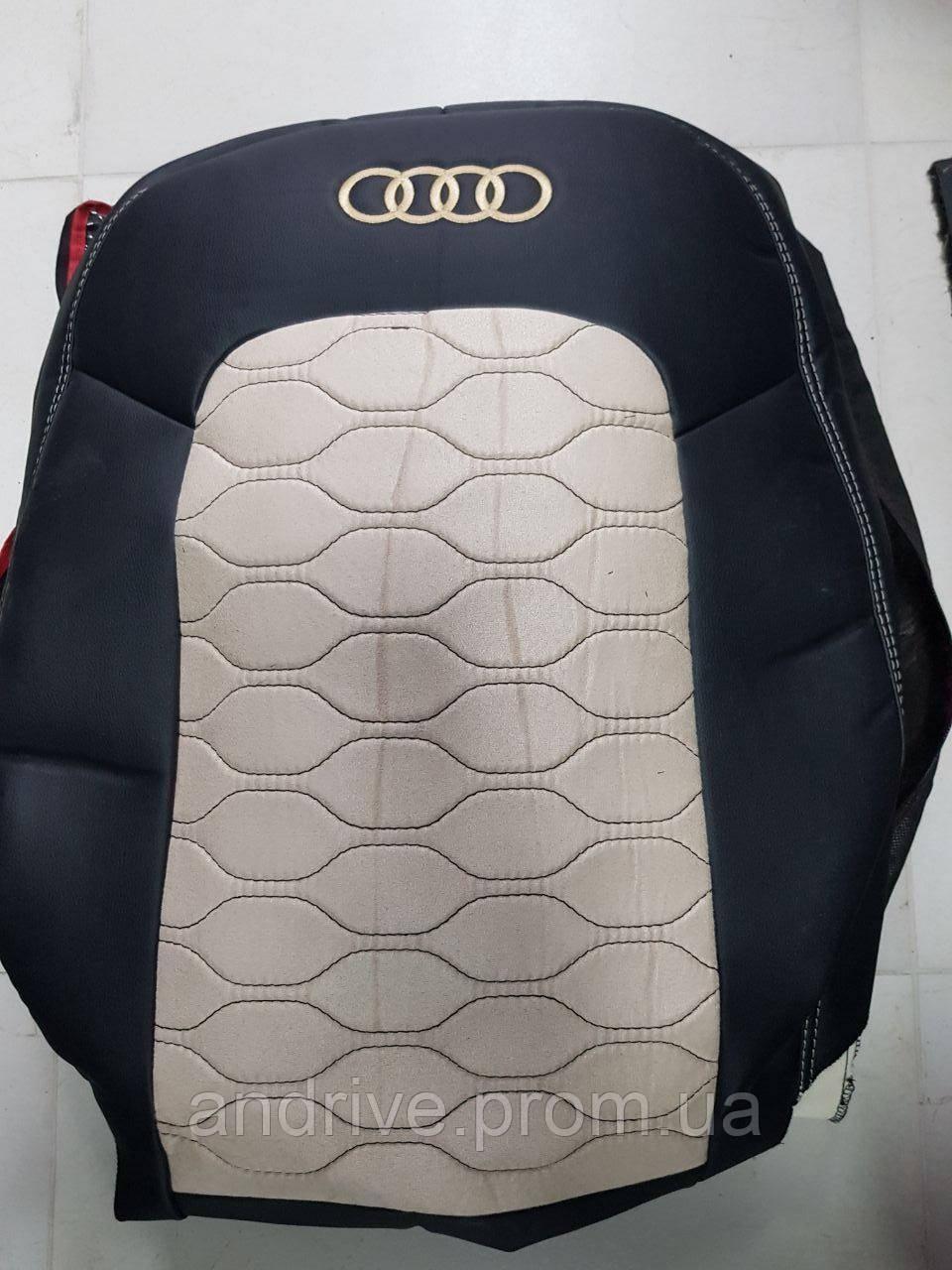 Авточехлы Audi Q3 2016+ (Экокожа + Замша) Чехлы в салон черно-бежевые