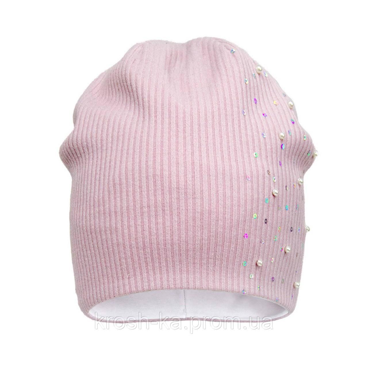 Шапка для девочки трикотажная (50-54)р розовый D.Star Украина 21329