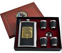 Подарочный Набор 6в1 Jim Beam фляга 4 стопки лейка (кожа)