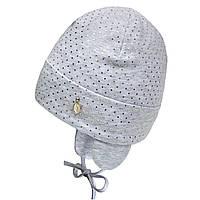 Шапка для девочки на завязках серый (44-48)р D.Star Украина 21347
