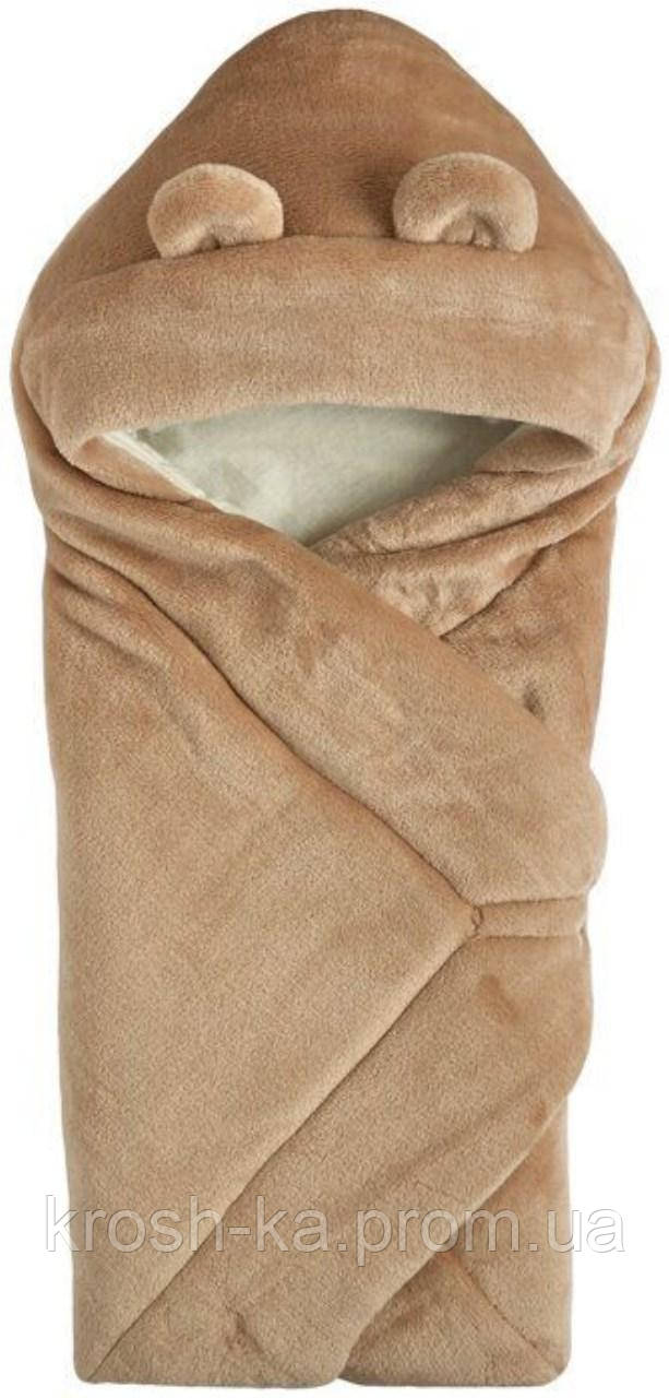 Одеяло-конверт с капюшоном махра кофе 70*70см (Гарден)Garden Baby Украина 106110-25