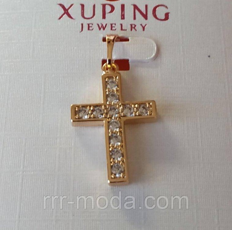 Крестик - подвеска Xuping, позолота. Бижутерия, кулоны из ювелирной коллекции Xuping оптом. 18