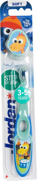 Детская зубная щетка с колпачком для молочных зубов Jordan 3-5 лет бирюзовый 6220220