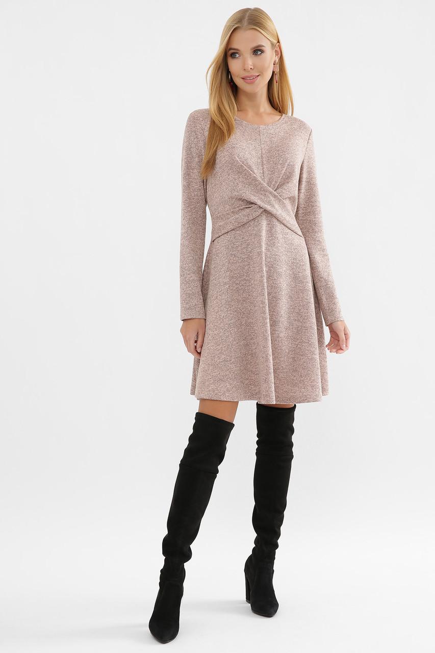 Зимнее ангоровое женское платье А-силуэта  пудрового цвета, размер S, M, L, XL