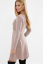 Зимнее ангоровое женское платье А-силуэта  пудрового цвета, размер S, M, L, XL, фото 3