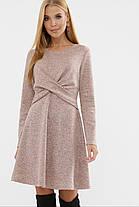 Зимнее ангоровое женское платье А-силуэта  пудрового цвета, размер S, M, L, XL, фото 2