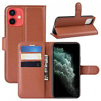 Чехол-книжка Litchie Wallet для Apple iPhone 12 Brown