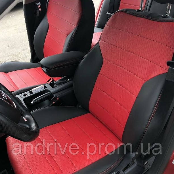 Авточехлы Chevrolet Orlando 2010+ 5 мест (Экокожа) Чехлы в салон черно-красные