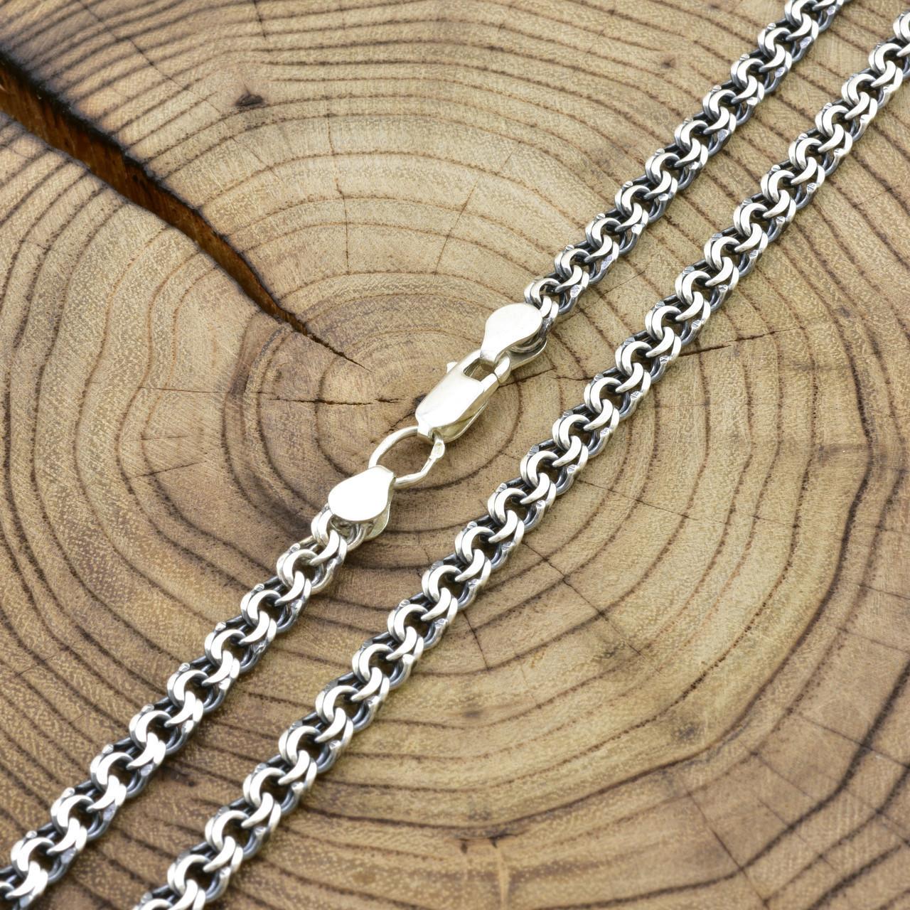 Серебряная цепочка с чернением Бисмарк длина 50 см ширина 5 мм вес 20.8 г