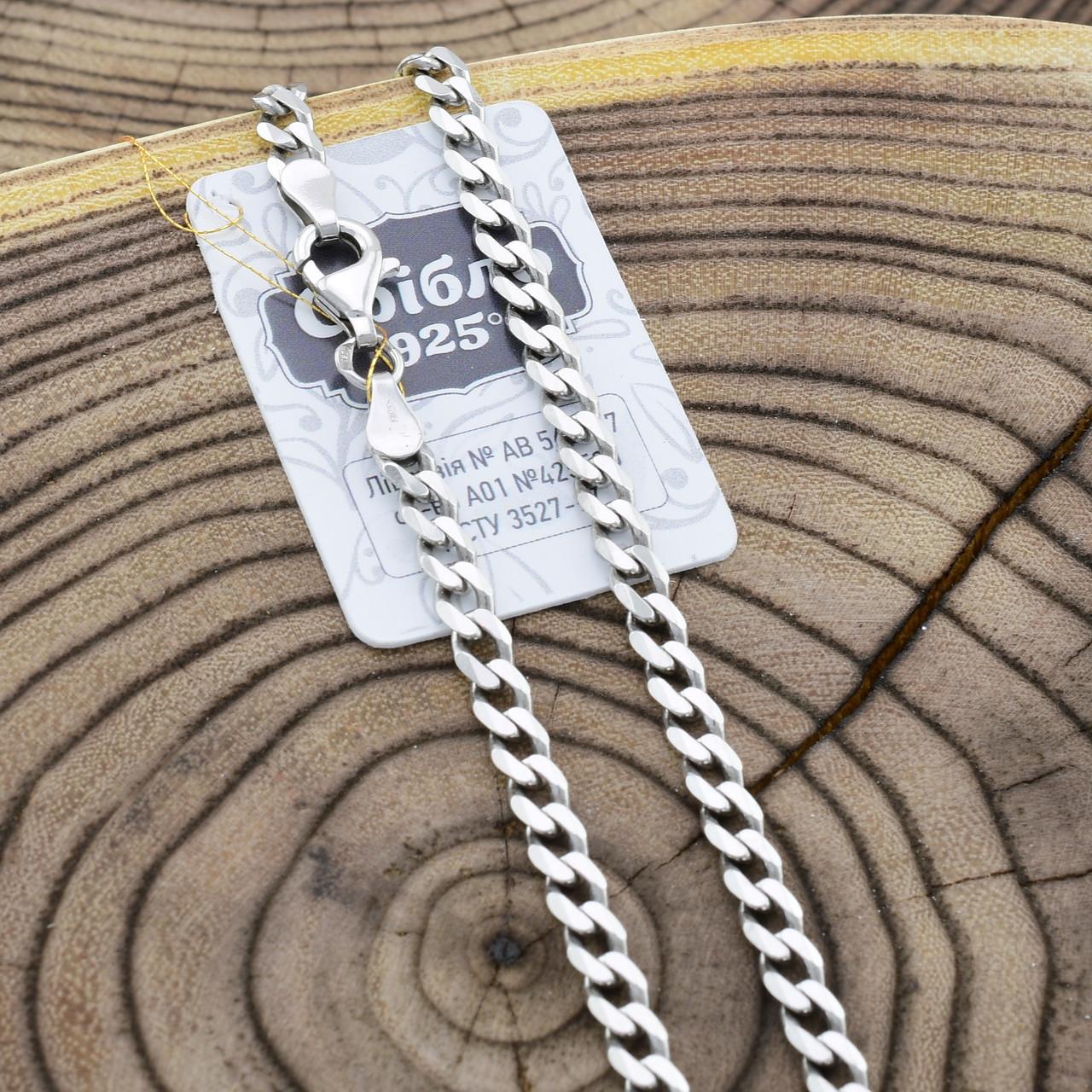 Серебряная цепочка родированная Панцирная скруглённая длина 60 см ширина 4 мм вес 18.0 г