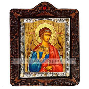 Икона Ангел-Хранитель  ,икона на коже 80х100 мм