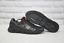 Чоловічі чорні осінні кросівки натуральна шкіра в стилі Nike