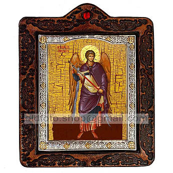 Икона Михаил Архистратиг  ,икона на коже 80х100 мм