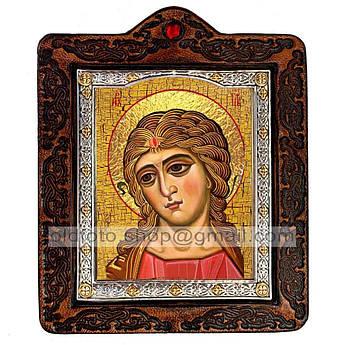 Икона Ангел Златые Власы  ,икона на коже 80х100 мм