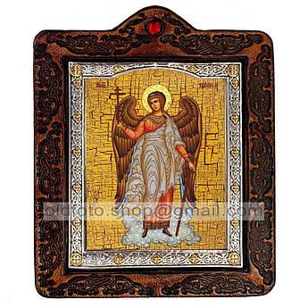 Икона Ангел Хранитель  ,икона на коже 80х100 мм
