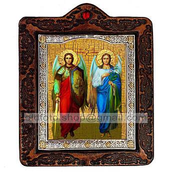 Икона Михаил и Гавриил Архангелы  ,икона на коже 80х100 мм