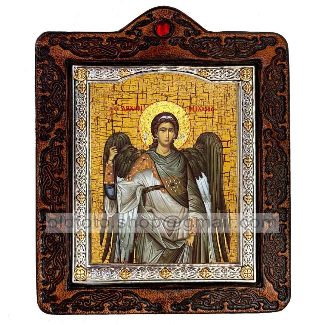 Икона Архангел Михаил (на коже 80х100мм)