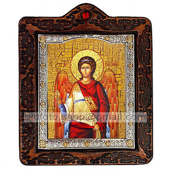 Икона Архангел Михаил  ,икона на коже 80х100 мм