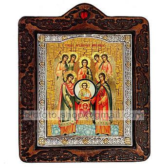 Икона Собор архистратига Михаила  ,икона на коже 80х100 мм