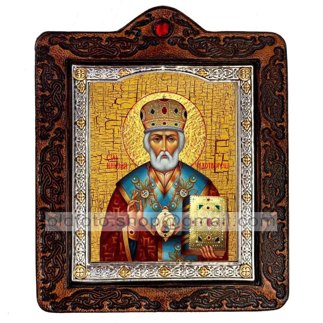 Икона Николай Чудотворец (на коже 80х100мм)