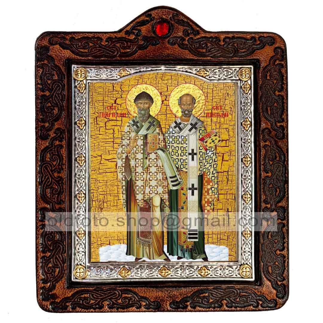 Икона Николай Чудотворец и Спиридон Тримифунтский (на коже 80х100мм)
