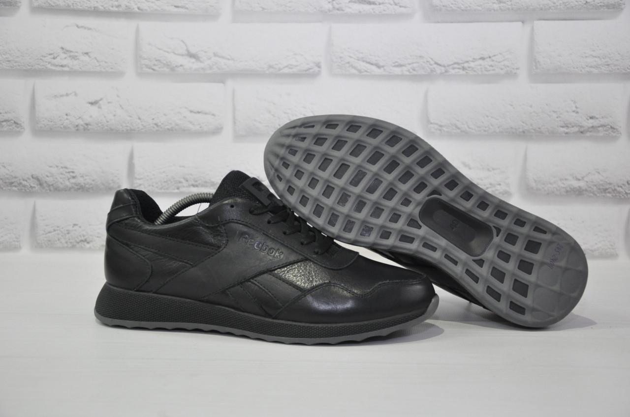 Чоловічі демісезонні чорні кросівки натуральна шкіра в стилі Reebok Classic Black