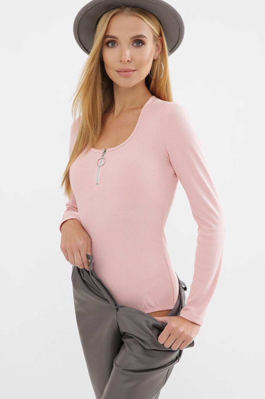 Женское боди с круглым вырезом розовое Домна