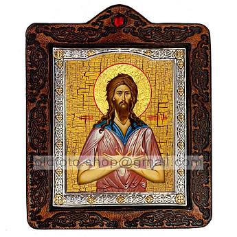 Икона Алексий Человек Божий  ,икона на коже 80х100 мм